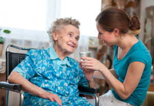 Elderly Woman With Senior Caregiver - Beverly Hills Home Care